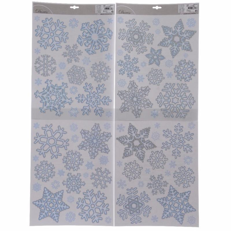 4x Kerst decoratie raamstickers sneeuwvlokken 30 x 42 cm