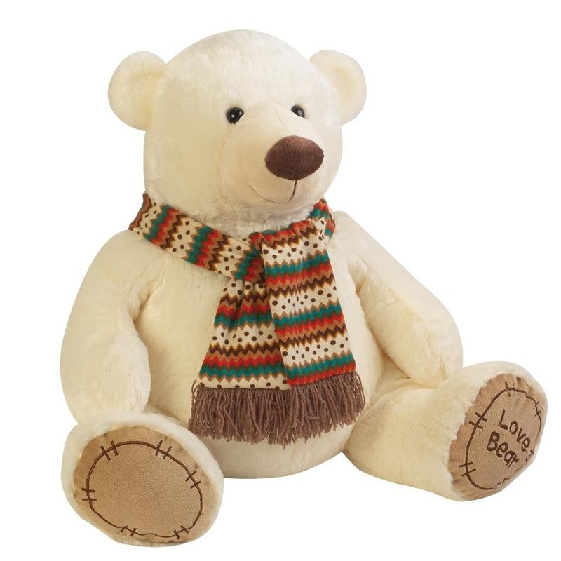 d4982cddf9294d Bestel Pluche knuffel beer creme met sjaal 65 cm in de winter winkel