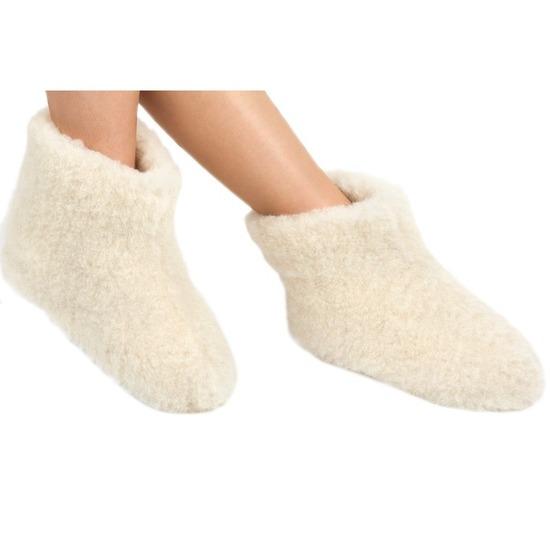 Bestel Witte wollen sloffenpantoffels voor kinderen in de